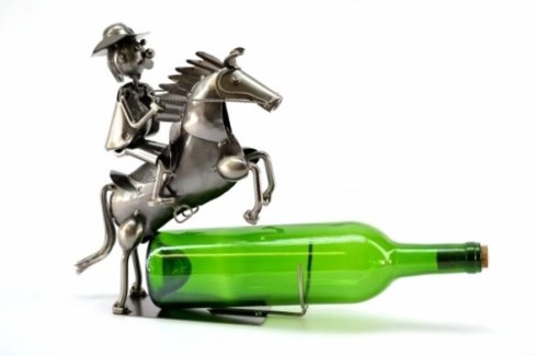 Cowboy on Horse Bottle Holder 3.5X8X10.5