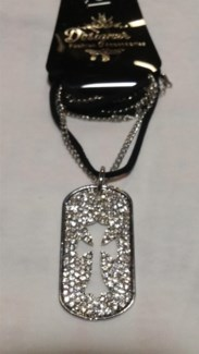 Cross Dog Tag Bling Necklace  **Discontinued**