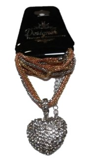 White Heart Bling Necklace  **Discontinued**