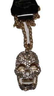 Large Gold Skull Bling Necklace **Discontinued**