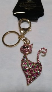Pink Bling Cat Keychain  **Discontinued**