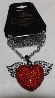 Red Heart W/Wings Bling Necklace **Discontinued**