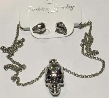 Silver Skull Necklace Earring Set  **Discontinued**