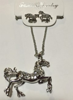 Horse Necklace Earring Set