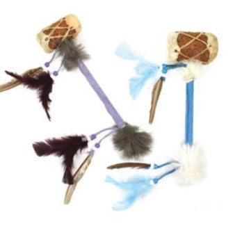 Kids Drum Rattle with Feathers & Beads