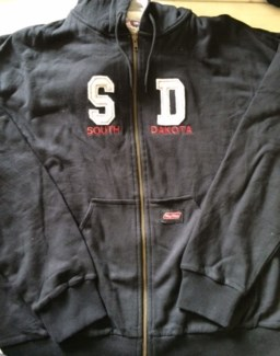 SD Zip UP Thermal Hoody Black w/ White Lettering L