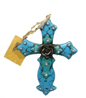 Cross W/Rose Center Ornament