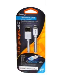 6 Ft. LED USB 8 Pin - White