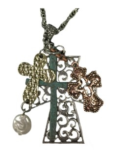 Cross Multi Charm Necklace
