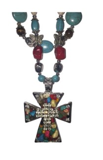 Long Multi Stoned Cross Necklace