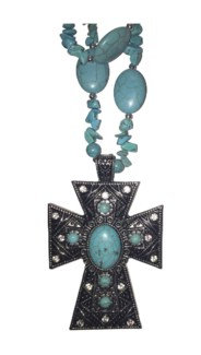 Long Turquoise Centered Cross Necklace