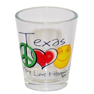 Texas Peace Love Happiness Shotglass