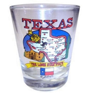 Texas State Map Shotglass