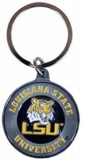 LSU Metal Bullseye Keychain