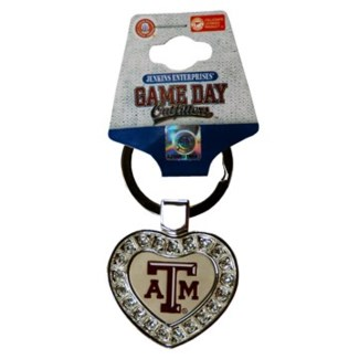 TX A&M Metal Heart Keychain