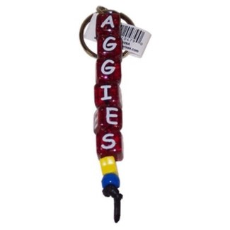 TX A&M Beaded Aggies Keychain