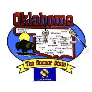 Oklahoma State Map Magnet