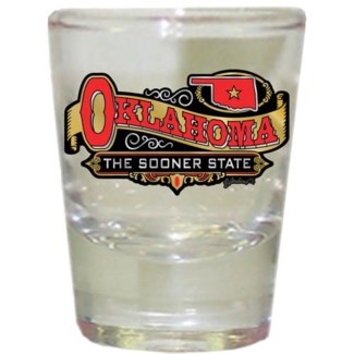 Oklahoma Frosted Shotglass W/Banner