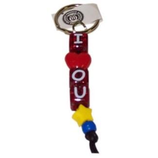 OU Beaded I LUV OU Keychain