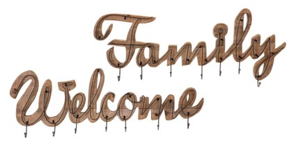 Welcome and Family Wall Hooks - Set of 2