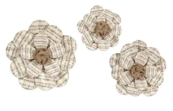 Ella Elaine Metal Sheet Music Wall Flower - Set of 3