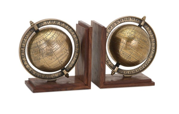 Beth Kushnick Globe Bookends - Set of 2