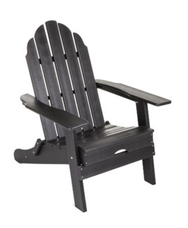 Black Commercial Grade Poly HPDE Folding Adirondack chair