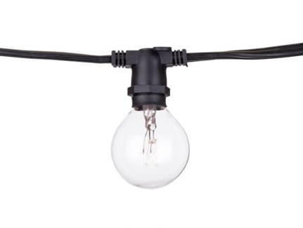 "Heavy Duty Black String Light 100ft with 65 lights - 15"" spacing"
