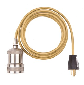 Gold Cord with Nickel Light Socket