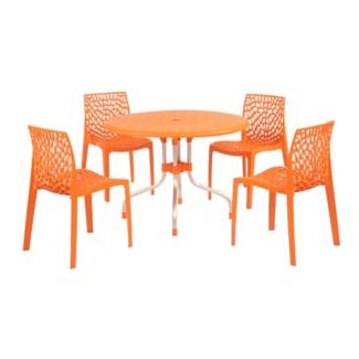 Orange Round Shape Commercial Grade Table