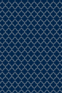 Pre-Order- Quaterfoil Design- Size Rug: 2ft x 3ft blue & white