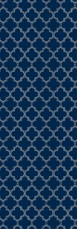 Pre-Order- Quaterfoil Design- Size Rug: 2ft x 6ft blue & white
