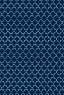 Quaterfoil Design- Size Rug: 4ft x 6ft blue & white