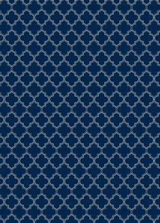 Quaterfoil Design- Size Rug: 5ft x 7ft blue & white