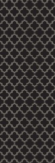 Quaterfoil Design- Size Rug: 2ft x 6ft black & white