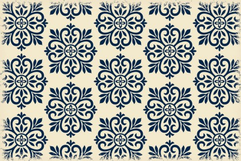 Modern European Design - Size Rug: 2ft x 3ft blue & white