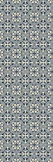 Quad European Design - Size Rug: 2ft x 6ft blue & white