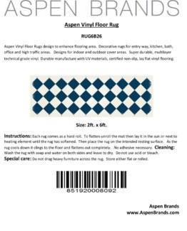 Diamond European Design - Size Rug: 2ft x 6ft blue & white colors