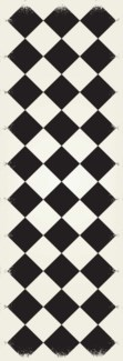 Diamond European Design - Size Rug: 2ft x 6ft black & white colors