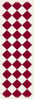 Diamond European Design - Size Rug: 2ft x 6ft red & white colors
