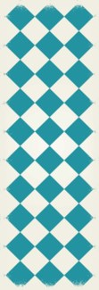 Diamond European Design - Size Rug: 2ft x 6ft teal & white colors