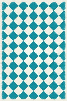 Diamond European Design - Size Rug: 4ft x 6ft teal & white colors