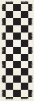 English Checker Design - Size Rug: 2ft x 6ft black & white colors