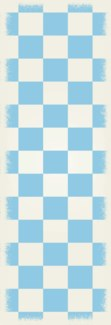 English Checker Design - Size Rug: 2ft x 6ft light blue & white colors