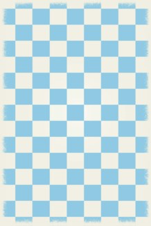 English Checker Design - Size Rug: 4ft x 6ft  light blue & white colors