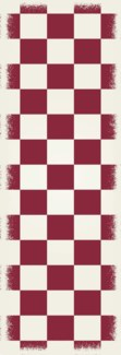 English Checker Design - Size Rug: 2ft x 6ft red & white colors