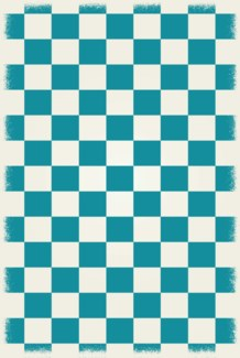 English Checker Design - Size Rug: 4ft x 6ft  teal & white colors