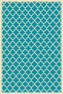 Quaterfoil Design- Size Rug: 4ft x 6ft teal & white