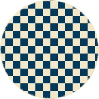 Checker of Circles - Size Rug 5ft x 5ft - Blue