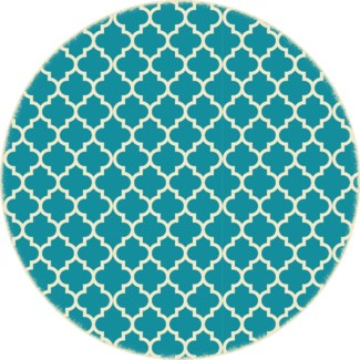 Quaterfoil Circle Design- Size Rug: 5ft x 5ft - Teal & white
